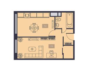 Планировка 1-комнатной квартиры в Талисман на Дмитровском
